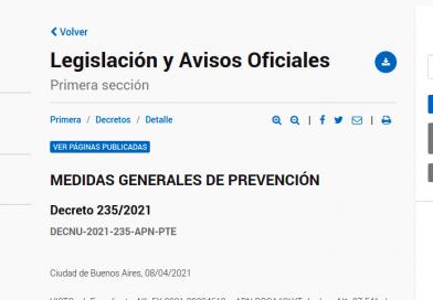 Decreto 235/2021 – MEDIDAS GENERALES DE PREVENCIÓN